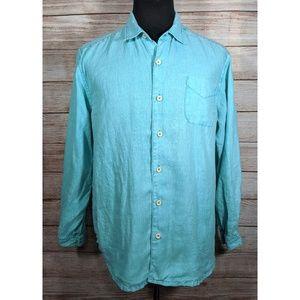Tommy Bahama Green Teal Linen Button Camp Shirt L